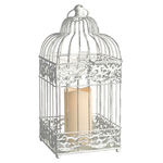 White Metal Bird Cage Lantern with LED Bisque Resin Pillar Candle Image