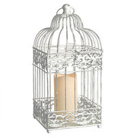 White Metal Bird Cage Lantern with LED Bisque Resin Pillar Candle - Soft Glow Flicker Flame - Battery Operated with Timer - Indoor/Outdoor - Gerson 40433