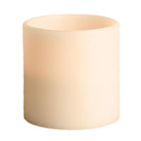 6 in. ht. - 6 in. dia. - 3 Wicks - Bisque Color - LED Flameless Grand Wax Pillar Candle - Soft Glow Flicker Flame - Battery Operated With Timer - Gerson 40446