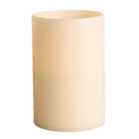 9 in. ht. - 6 in. dia. - 3 Wicks - Bisque Color - LED - Flameless Grand Wax Pillar Candle - Soft Glow Flicker Flame - Battery Operated With Timer - Gerson 40447