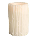 6 in. ht. - 4 in. dia. - Bisque Color - LED - Flameless Branch Carved Wax Pillar Candle Image