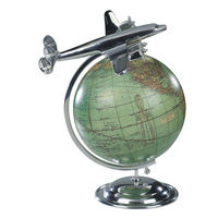 On Top Of The World - Desktop Airplane Model - Made of Polished Aluminum - Vintage Globe - Authentic Models AP108