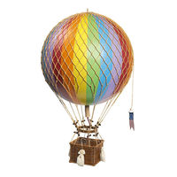 28 in. Height - Rainbow Jules Verne Balloon - Hot Air Balloon Model - Features Hand-Knotted Netting and Rattan Basket - Authentic Models AP168E