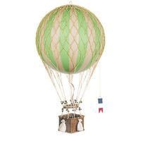 28 in. Height - Green Jules Verne Balloon - Hot Air Balloon Model - Features Hand-Knotted Netting and Rattan Basket - Authentic Models AP168G