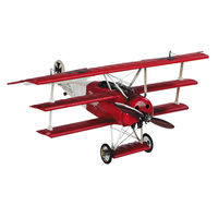 18 in. Wingspan Desktop Fokker Triplane - Authentic Model Plane - Features Silk Fabric-Covered Wings - Accents in Brass and Leather - Authentic Models AP203