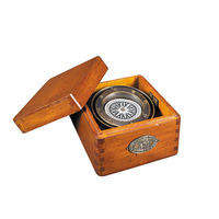 Lifeboat Compass - Features Solid Bronze Compass in Wooden Box with French Finish - Authentic Models CO015