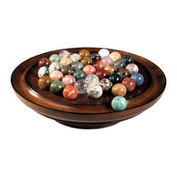 Semi-Precious Solitaire Game 35mm - Collectors Board Game - Features Solid Wood Game Board in French Finish - 38 Marbles - Authentic Models GR022
