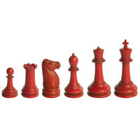 Classic Staunton Chess Set - Collector's Game - Chess Pieces in Red and Ivory Finish - Includes Game Pieces Only - Authentic Models GR021