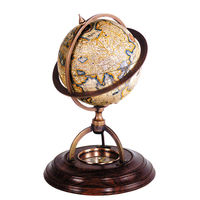 Terrestrial Globe with Compass - Handcrafted Replica - Features Wood Stand with Bronze Accents - Paper Globe - Authentic Models GL019