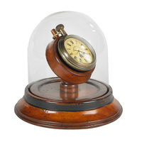 Victorian Dome Watch - Features Brass Pocket Watch on Cherry Wood Stand in French Finish - Glass Dome Case - Authentic Models SC054