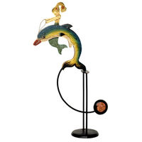 Mermaid Sky Hook - Metal Balance Toy - Features Hand-Painted Mermaid and Dolphin Figures on Recycled Metal Stand - Authentic Models TM029