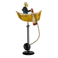 Salty Dog Sky Hook - Metal Balance Toy - Features Hand-Painted Boat and Rowing Sailor Figures on Recycled Metal Stand - Authentic Models TM036