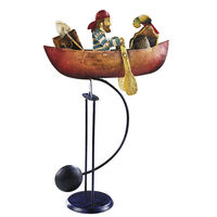 Pirate Sky Hook - Metal Balance Toy - Features Hand-Painted Boat and Rowing Pirate Figures on Recycled Metal Stand - Authentic Models TM040