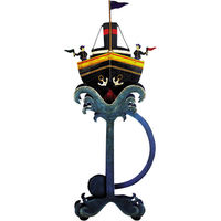 Panama Tramp Steamer Sky Hook - Metal Balance Toy - Features Hand-Painted Steamboat on Recycled Metal Stand - Authentic Models TM045