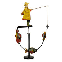 Fisherman Sky Hook - Metal Balance Toy - Features Hand-Painted Coastal Fisherman and Fish Figures on Recycled Metal Stand - Authentic Models TM047