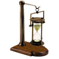 Bronzed 30 Minute Hourglass On Stand - Classic Replica - Features Hand-Tooled Brass Hourglass - Solid Brass and Wood Stand - Authentic Models HG008
