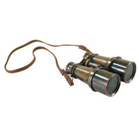 Bronze Victorian Binoculars - 19th Century Replica - Features Solid Brass with Bronze Finish - Leather Bridle Strap - Authentic Models KA026