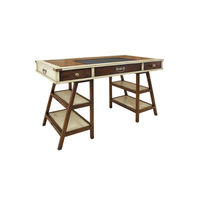 Navigator's Desk in Ivory - Trestle Leg Desk - Features Solid Wood in French Finish with Faux Leather Writing Top and Brass Accents - Authentic Models MF011