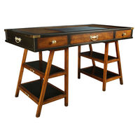 Navigator's Desk in Black - Trestle Leg Desk - Features Solid Wood in French Finish with Brass Accents - Faux Leather Writing Top - Authentic Models MF022
