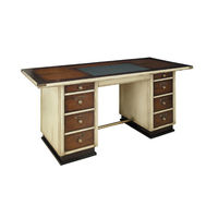 Captain's Desk in Ivory - Nautical Desk - Features Cherry Wood in French Finish with Brass Accents - Inset Faux Leather Writing Top -  Authentic Models MF013