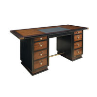 Captain's Desk in Black - Nautical Desk - Features Cherry Wood in French Finish with Brass Accents - Inset Faux Leather Writing Top -  Authentic Models MF014