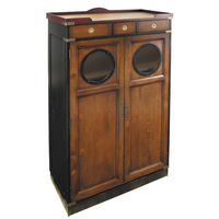 Porthole Cabinet - Display Cabinet - Features Hand-Crafted Cherry Wood in Black and French Finish with Brass Accents - Authentic Models MF027