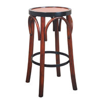 Grand Hotel Bar Stool in Honey - Backless Bar Stool - Features Cherry and Maple Wood in Distressed Black and Honey Finish - Authentic Models MF043A