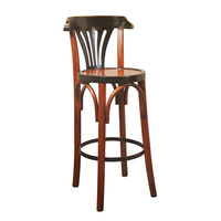 Grand Hotel Bar Stool De Luxe in Honey - Bar Stool with Back - Features Cherry and Maple Wood in Distressed Black and Honey Finish - Authentic Models MF044A