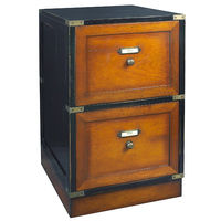 Campaign Files in Black - Filing Cabinet - Features (2) Drawers - Solid Wood Construction with Hidden Rolling Wheels and Brass Accents - Authentic Models MF039