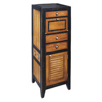 Cape Cod Locker in Black - Storage Unit - Features Solid Wood Construction with Woven Rattan and Brass Accents - Authentic Models MF061