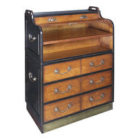 Grand Hotel Secretaire - Campaign Desk - Features Pull-Out Writing Surface - Solid Wood in Black and French Finish with Bronze Hardware Accents - Authentic Models MF063