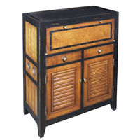 Cape Cod Console in Black - Storage Unit - Features Solid Wood Construction with Fold-Out Shelves - Brass Accents - Authentic Models MF062
