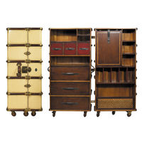 Stateroom Armoire in Ivory - Trunk Reproduction - Features Solid Wood Construction on Wheels - Custom Brass Hardware and Leather Accents - Authentic Models MF077