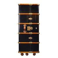 Stateroom Armoire in Black - Trunk Reproduction - Features Solid Wood Construction on Wheels - Custom Brass Hardware and Leather Accents - Authentic Models MF077B