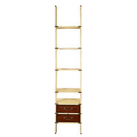 Library Ladder in Ivory - Bookcase - Features (2) Drawers - Solid Wood in Ivory and French Finish with Brass Hardware Accents - Authentic Models MF068I