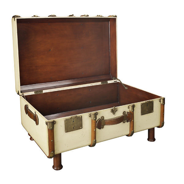 Stateroom Trunk in Ivory - 1930s Travel Replica Image