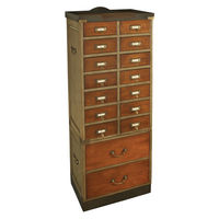 Collector's Cabinet with Drawers - Card Catalog Cabinet - Features Solid Wood in French Finish with Brass Accents - Authentic Models MF069