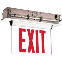 Self Testing - Single Face LED Exit Sign - Edge-Lit - Red Letters - 120/277 Volt and Battery Backup - White - Exitronix S902-WB-SR-RC-WH-G2