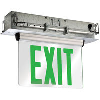 Self-Testing - Double Face LED Exit Sign - Edge-Lit - Green Letters - 120/277 Volt and Battery Backup - Brushed Aluminum -  Exitronix S903-SR-WB-GM-BA-G2