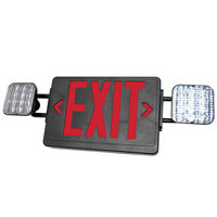 Double Face LED Combination Exit Sign - LED Lamp Heads - Red Letters - 90 Min. Operation - Black - 120/277 Volt - Exitronix VLED-U-BL-EL90