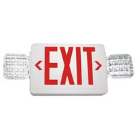 Double Face LED Combination Exit Sign - LED Lamp Heads - Red Letters - 90 Min. Operation - White - 120/277 Volt - Exitronix VLED-U-WH-EL90