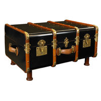 Stateroom Trunk in Black - 1930s Travel Replica - Features Solid Wood with Brass, Maple and Dark Walnut Wood Accents - Authentic Models MF040B
