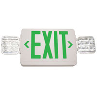 Double Face LED Combination Exit Sign - LED Lamp Heads - Remote Capable - Green Letters - 90 Min. Operation - White - 120/277 Volt - Exitronix GVLED-U-WH-EL90-R