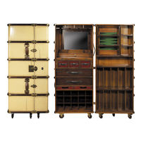 Stateroom Bar in Ivory - Trunk Bar Cabinet - Features Two-Part Bar with Drink Rack and Foldout Work Shelf - Solid Wood with Brass Hardware and Leather Accents - Authentic Models MF078