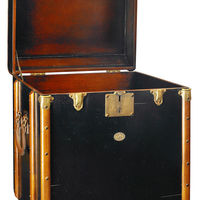 Stateroom End Table in Black - Trunk Replica - Features Solid Wood, Brass Hardware, and Leather Accents - Authentic Models MF079B