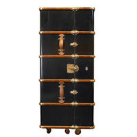 Stateroom Bar in Black - Trunk Bar Cabinet - Features Two-Part Bar with Drink Rack and Foldout Work Shelf - Solid Wood with Brass Hardware and Leather Accents - Authentic Models MF078B