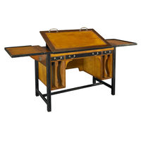 Bureau Architecte - Adjustable Architect's Desk - Features Solid Wood Construction  in Light Honey and Black Finish with Brass Hardware Accents - Authentic Models MF086