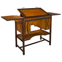 Tall Bureau Architecte - Adjustable Architect's Desk - Features Solid Wood Construction  in Light Honey and Dark Walnut Finish with Brass Hardware Accents - Authentic Models MF087