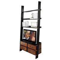 Gallery TV Ladder - Wall Cabinet - Features Solid Wood Construction in Black and French Finish with Brass Hardware Accents - Authentic Models MF091