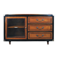 Royal Navy Commodore Console - Mini Console Cabinet - Features Solid Wood in Black and Light Honey Finish with Bronze Hardware Accents - Authentic Models MF093